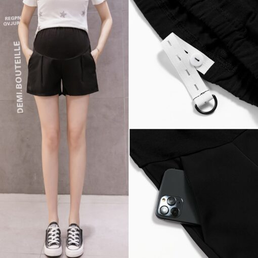 New Summer Wide Leg Spot Pleated Chiffon Loose Maternity Shorts Summer Sweet Hot Shorts for Pregnant 4