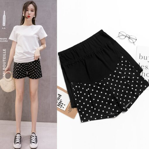 New Summer Wide Leg Spot Pleated Chiffon Loose Maternity Shorts Summer Sweet Hot Shorts for Pregnant