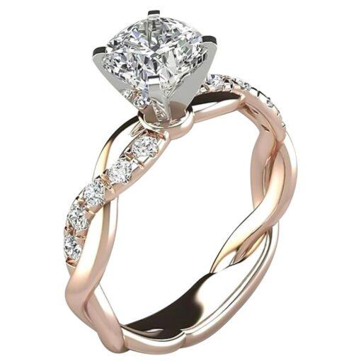New Trendy Crystal Engagement Ring Design Hot Sale For Women Bridal Zircon Diamond elegant rings Female 1