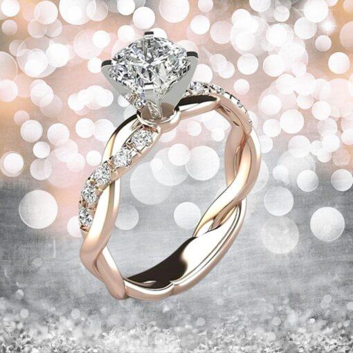 New Trendy Crystal Engagement Ring Design Hot Sale For Women Bridal Zircon Diamond elegant rings Female 2