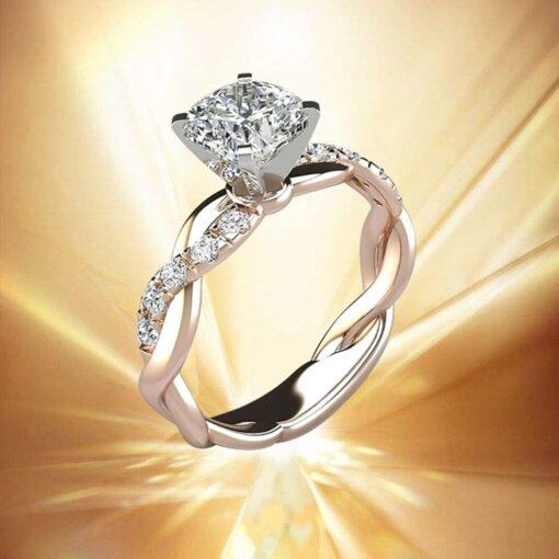 New Trendy Crystal Engagement Ring Design Hot Sale For Women Bridal Zircon Diamond elegant rings Female 3