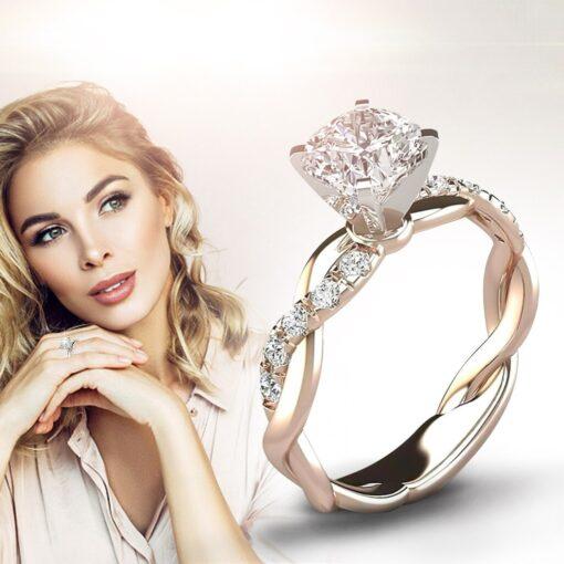 New Trendy Crystal Engagement Ring Design Hot Sale For Women Bridal Zircon Diamond elegant rings Female