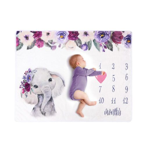 Newborn Baby Blanket Monthly Growth Milestone Blanket Super Soft Elephant Printing Flannel Blanket Baby Photography Props 1