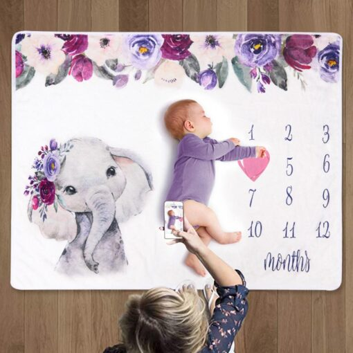 Newborn Baby Blanket Monthly Growth Milestone Blanket Super Soft Elephant Printing Flannel Blanket Baby Photography Props 3