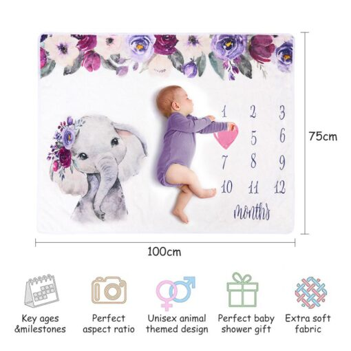 Newborn Baby Blanket Monthly Growth Milestone Blanket Super Soft Elephant Printing Flannel Blanket Baby Photography Props 5