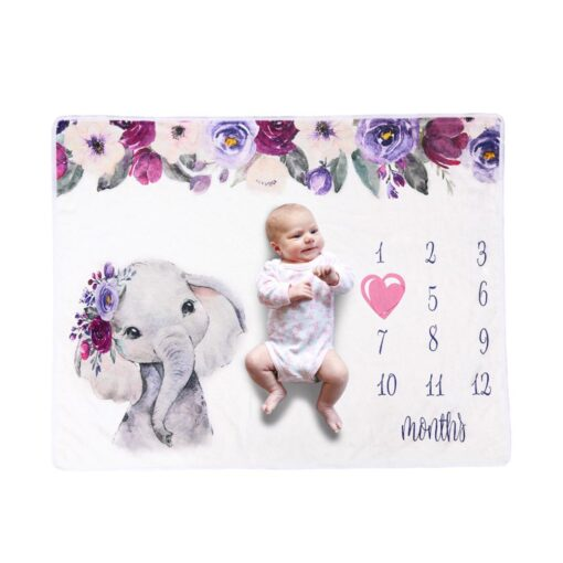Newborn Baby Blanket Monthly Growth Milestone Blanket Super Soft Elephant Printing Flannel Blanket Baby Photography Props