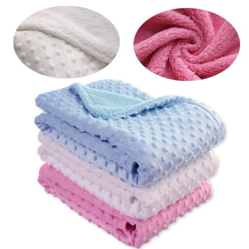 Newborn Baby Blankets Warm Fleece Thermal Soft Stroller Sleep Cover Cartoon Beanie Infant Bedding Swaddle Wrap 11