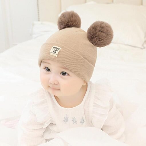 Newborn Baby Boy Girl Knitted Hat Autumn Winter Cap Knitting Toddle Beanies Cute Daily Leisure Pompon 1