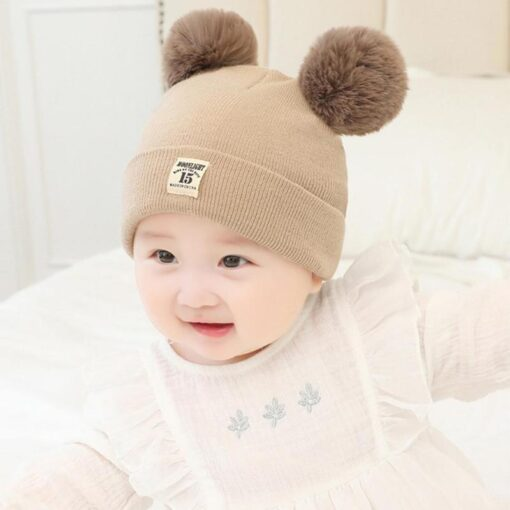 Newborn Baby Boy Girl Knitted Hat Autumn Winter Cap Knitting Toddle Beanies Cute Daily Leisure Pompon 2