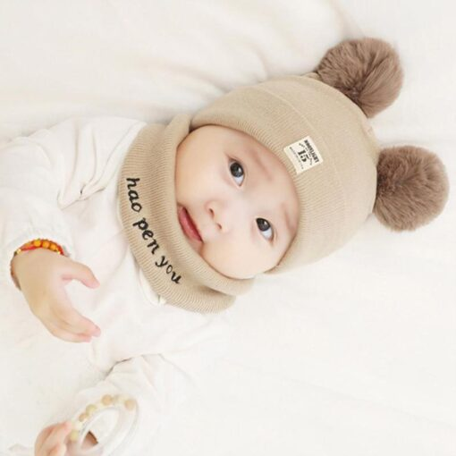 Newborn Baby Boy Girl Knitted Hat Autumn Winter Cap Knitting Toddle Beanies Cute Daily Leisure Pompon 3