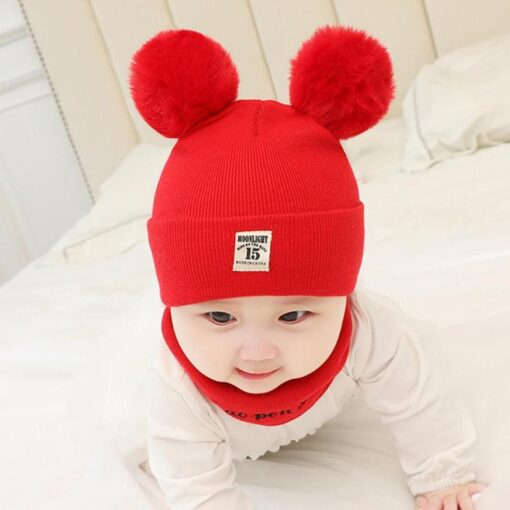 Newborn Baby Boy Girl Knitted Hat Autumn Winter Cap Knitting Toddle Beanies Cute Daily Leisure Pompon 5