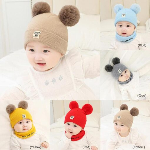 Newborn Baby Boy Girl Knitted Hat Autumn Winter Cap Knitting Toddle Beanies Cute Daily Leisure Pompon