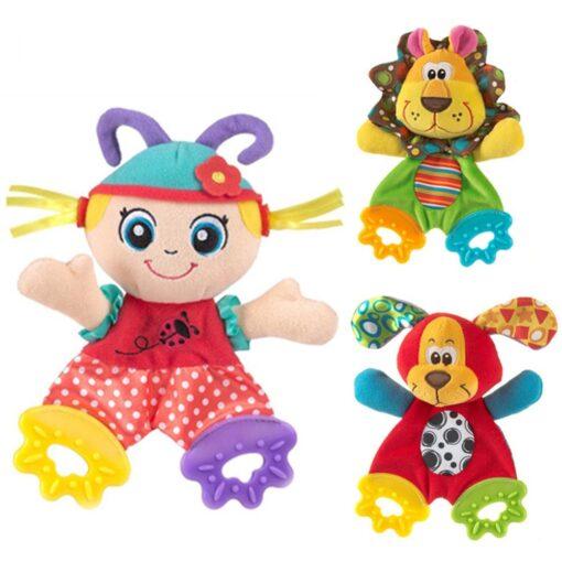 Newborn Baby Cute Playmate Plush Doll Toys Kids Cartoon Animals Hand Bells Rattles Toy Baby Teether 1