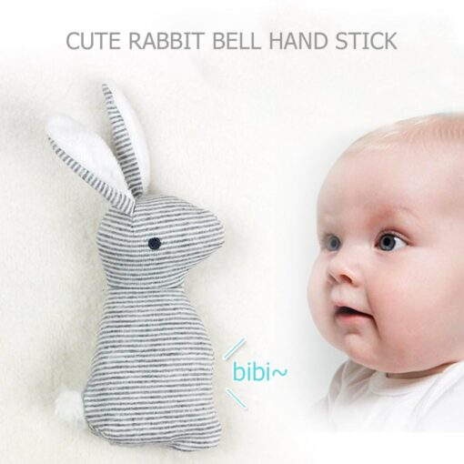 Newborn Baby Cute Plush Long Ear Rabbit Rattle Toys Baby Hand Bells Stick Toys with BB