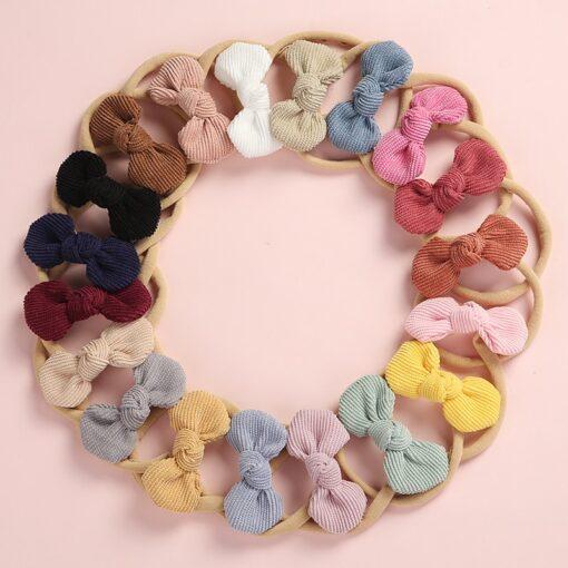 Newborn Baby Girls Knot Bows Nylon Headbands Super Soft Elastic Stretchy Corduroy Handtie Head Wear Hair 1