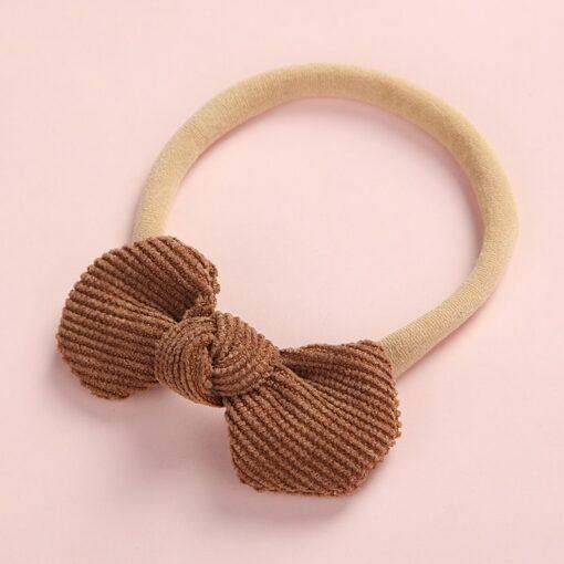 Newborn Baby Girls Knot Bows Nylon Headbands Super Soft Elastic Stretchy Corduroy Handtie Head Wear Hair 2