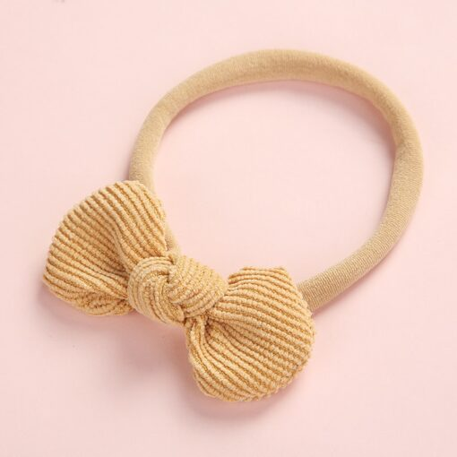 Newborn Baby Girls Knot Bows Nylon Headbands Super Soft Elastic Stretchy Corduroy Handtie Head Wear Hair 3