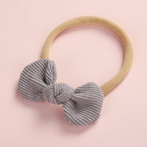Newborn Baby Girls Knot Bows Nylon Headbands Super Soft Elastic Stretchy Corduroy Handtie Head Wear Hair 4