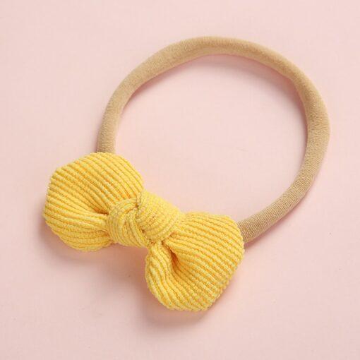 Newborn Baby Girls Knot Bows Nylon Headbands Super Soft Elastic Stretchy Corduroy Handtie Head Wear Hair 5