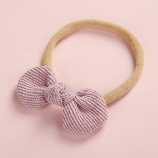 Newborn Baby Girls Knot Bows Nylon Headbands Super Soft Elastic Stretchy Corduroy Handtie Head Wear Hair
