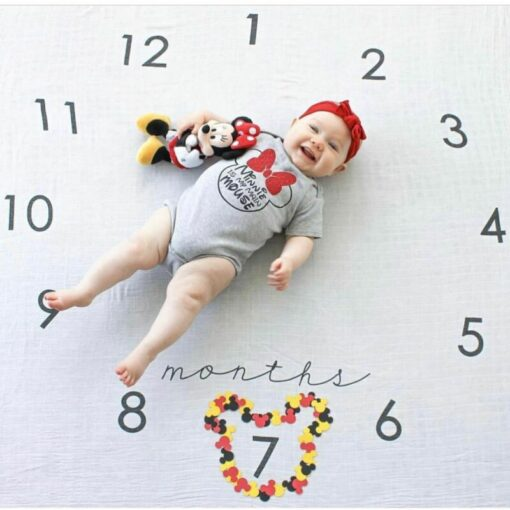 Newborn Baby Monthly Growth Milestone Blanket Photography Prop Background Cloth 3