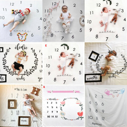 Newborn Baby Monthly Growth Milestone Blanket Photography Prop Background Cloth