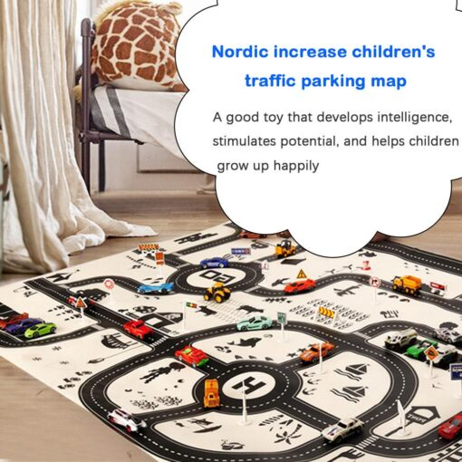 Newborn Baby Playing Mat Kids Boys Girls Crawling Blanket Cute Cartoon Traffic Park Map Mat Toys 3