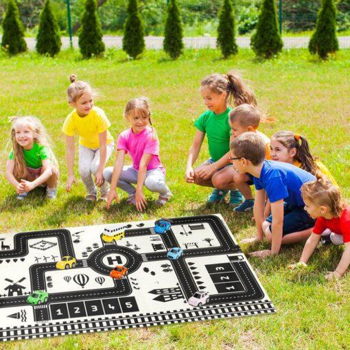 Newborn Baby Playing Mat Kids Boys Girls Crawling Blanket Cute Cartoon Traffic Park Map Mat Toys 4