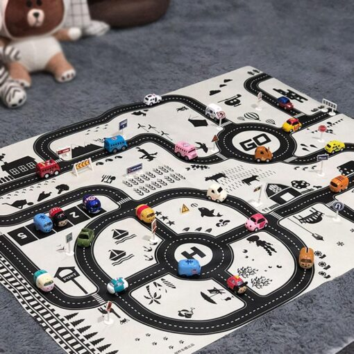 Newborn Baby Playing Mat Kids Boys Girls Crawling Blanket Cute Cartoon Traffic Park Map Mat Toys 5