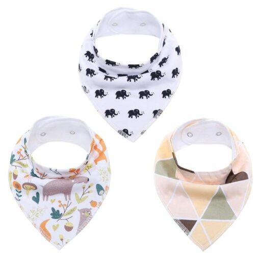 Newborn Baby Saliva Towel Adjustable Infant Bibs Burp Cloth Reusable Washable Baby Triangle Bibs Cartoon Printed