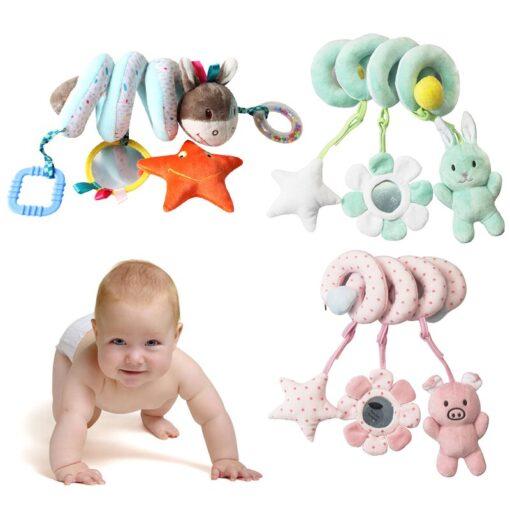 Newborn Baby Toys Stuffed Stroller Toys Animal Baby Crib Pram Bed Hanging Educational Infant Baby Rattle