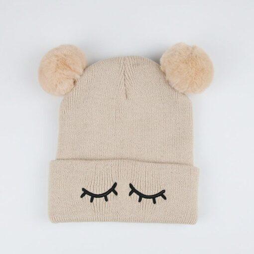 Newborn Baby Winter Hats Baby Infant Winter Keep Warm Hat Double Fur Ball Crochet Knit Hat 1