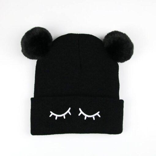 Newborn Baby Winter Hats Baby Infant Winter Keep Warm Hat Double Fur Ball Crochet Knit Hat 2