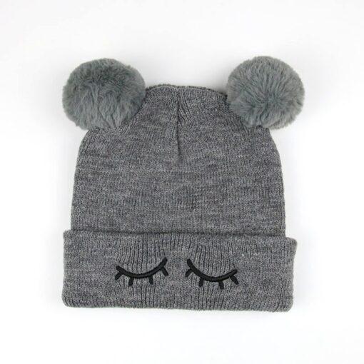 Newborn Baby Winter Hats Baby Infant Winter Keep Warm Hat Double Fur Ball Crochet Knit Hat 3
