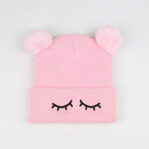Newborn Baby Winter Hats Baby Infant Winter Keep Warm Hat Double Fur Ball Crochet Knit Hat 4