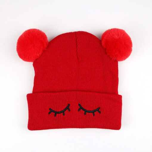 Newborn Baby Winter Hats Baby Infant Winter Keep Warm Hat Double Fur Ball Crochet Knit Hat 5