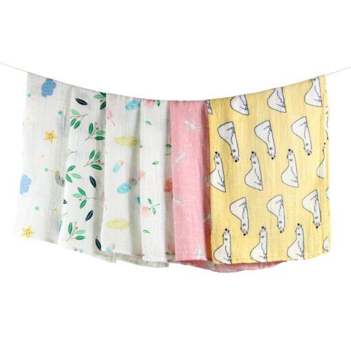 Newborn Blankets Bamboo Bath Baby Swaddle Kids Muslin Organic Cotton Fabric Super Soft Stuff Girls Burp 1