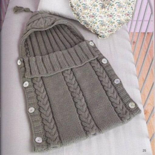Newborn Infant Baby Blanket Knit Button Crochet Winter Warm Swaddle Wrap Sleeping Bags 3