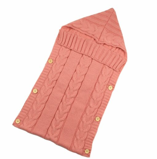 Newborn Infant Baby Blanket Knit Button Crochet Winter Warm Swaddle Wrap Sleeping Bags 4
