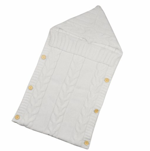 Newborn Infant Baby Blanket Knit Button Crochet Winter Warm Swaddle Wrap Sleeping Bags 5