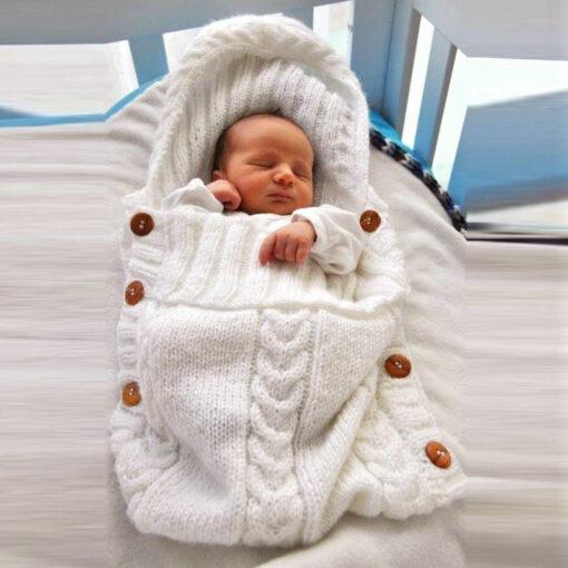 Newborn Infant Baby Boy Girl Blanket Knit Crochet Winter Warm Swaddle Wrap Sleeping Bag Solid Buttons 1