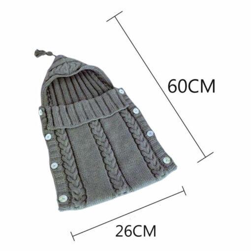 Newborn Infant Baby Boy Girl Blanket Knit Crochet Winter Warm Swaddle Wrap Sleeping Bag Solid Buttons 2