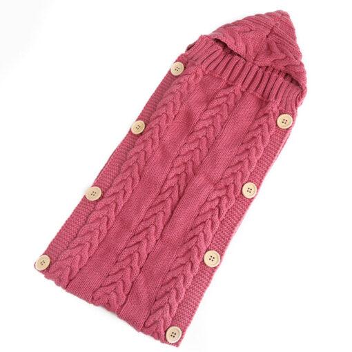 Newborn Infant Baby Boy Girl Blanket Knit Crochet Winter Warm Swaddle Wrap Sleeping Bag Solid Buttons 3