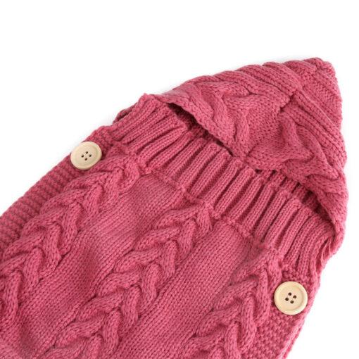 Newborn Infant Baby Boy Girl Blanket Knit Crochet Winter Warm Swaddle Wrap Sleeping Bag Solid Buttons 4