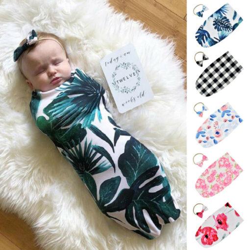 Newborn Infant Baby Swaddle Blanket Sleeping Swaddle Muslin Wrap Headband Set 2