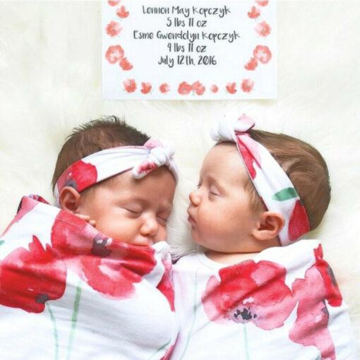 Newborn Infant Baby Swaddle Blanket Sleeping Swaddle Muslin Wrap Headband Set 4