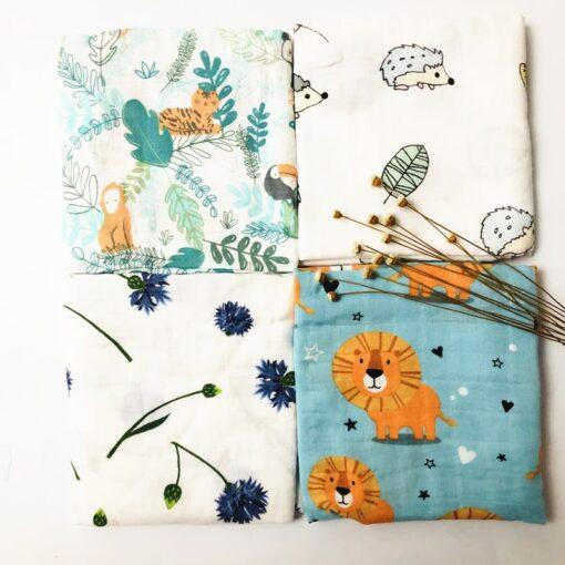 Newborn Organic Cotton Bamboo Baby Blanket Muslin Swaddle Wrap Feeding Burpy Towel Scraf Bibs Muslin Big 1