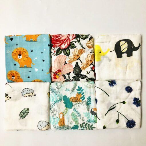 Newborn Organic Cotton Bamboo Baby Blanket Muslin Swaddle Wrap Feeding Burpy Towel Scraf Bibs Muslin Big 2