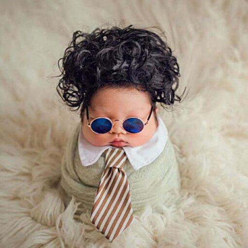 Newborn Photography Props Baby Flat Glasses Boy Girl Gentleman Studio Shoot Infant Pictures Decoration Round Metal 4