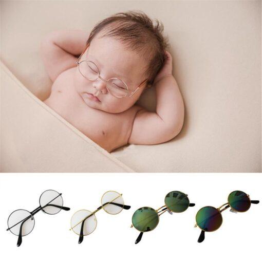 Newborn Photography Props Baby Flat Glasses Boy Girl Gentleman Studio Shoot Infant Pictures Decoration Round Metal